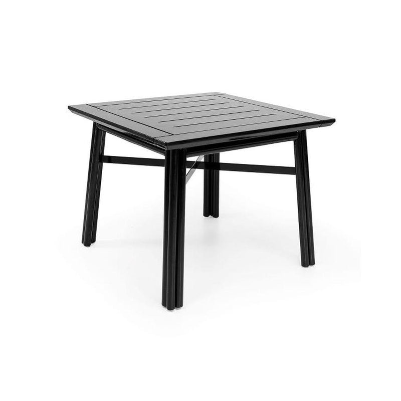 Minimal Exterior Wooden Square Dining Table | luxury Italian garden dining table | white black | glossy matt