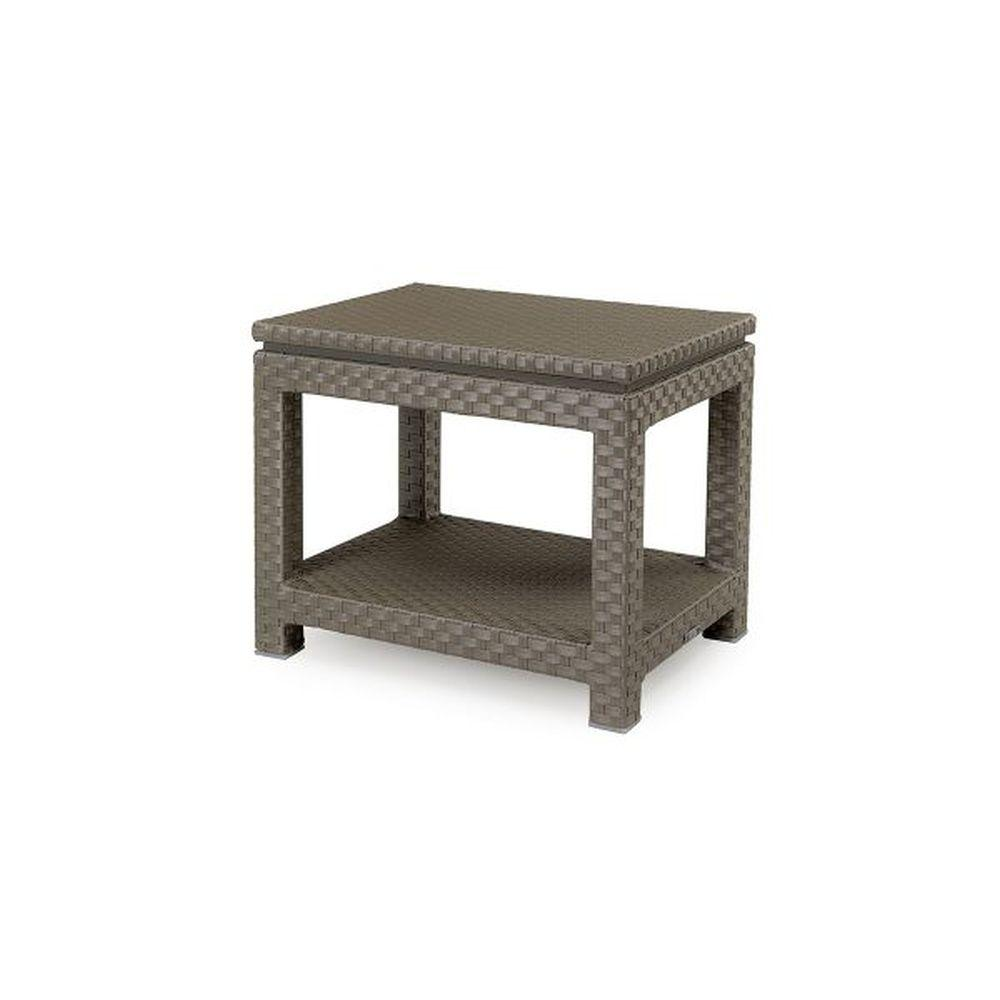 Minimalist Two Tiered Rattan Side Table | luxury Italian braid detail double side table | aluminium and rattan | silver shimmer