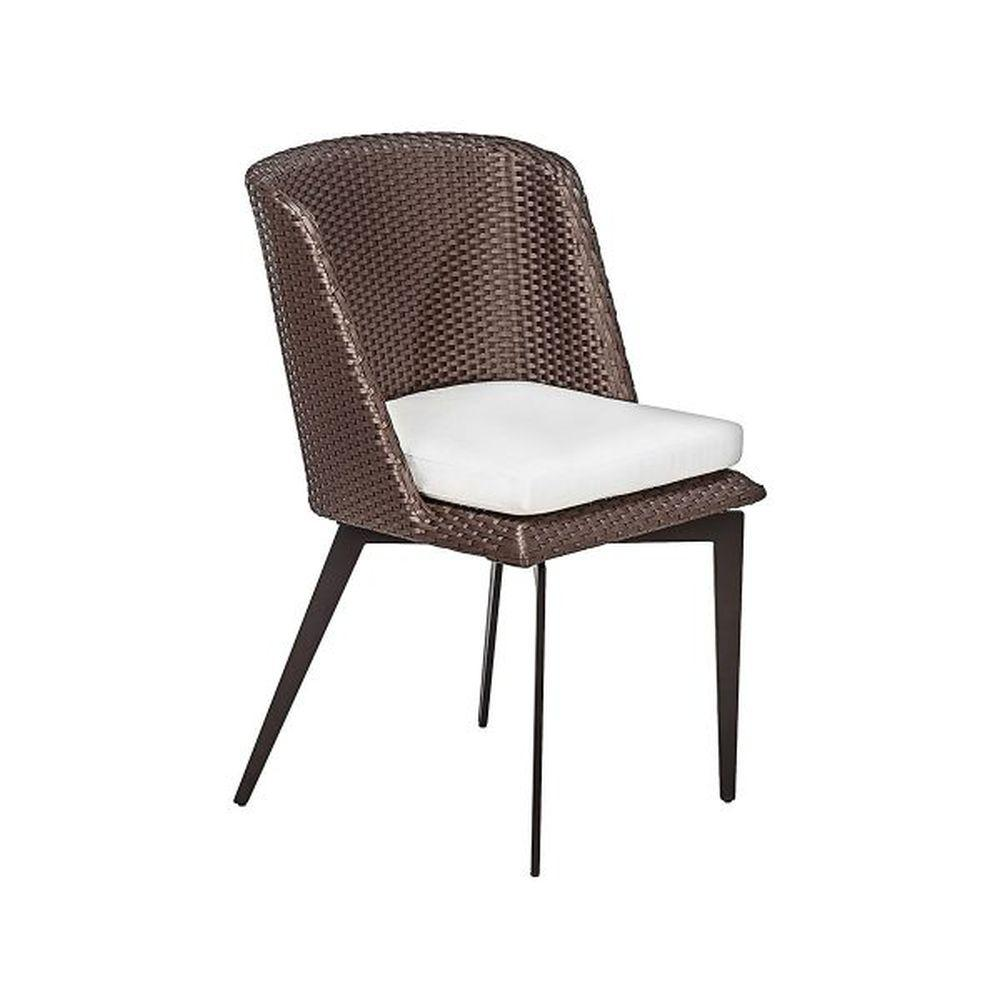 Elegant Aluminium Rattan Dining Chair | high end Italian exterior woven seating | brown taupe