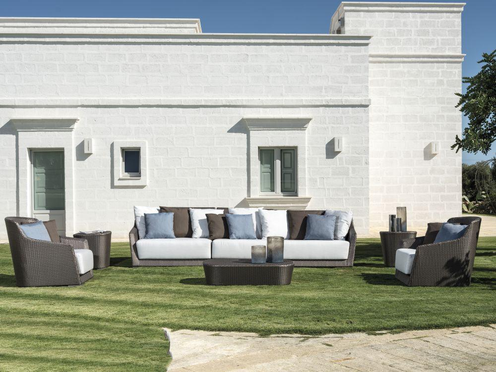 Modern Left Corner Modular Armchair | luxurious Italian design garden rattan mudular seating | brown taupe