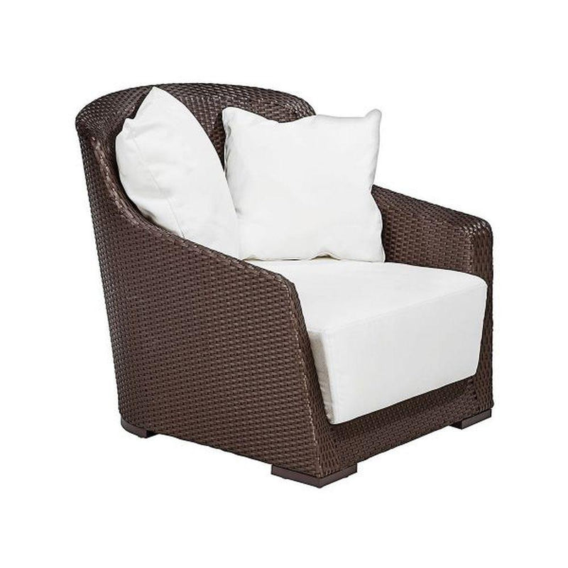 Large Curved Rattan Garden Armchair | luxurious Italian design exterior rattan seating for sale | brown taupe