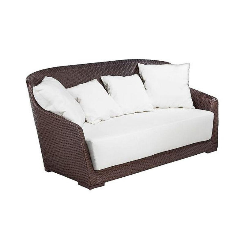 Minimalist Curved Two Seater Garden Sofa | high end Italain garden rattan sofa for sale UK | brown taupe