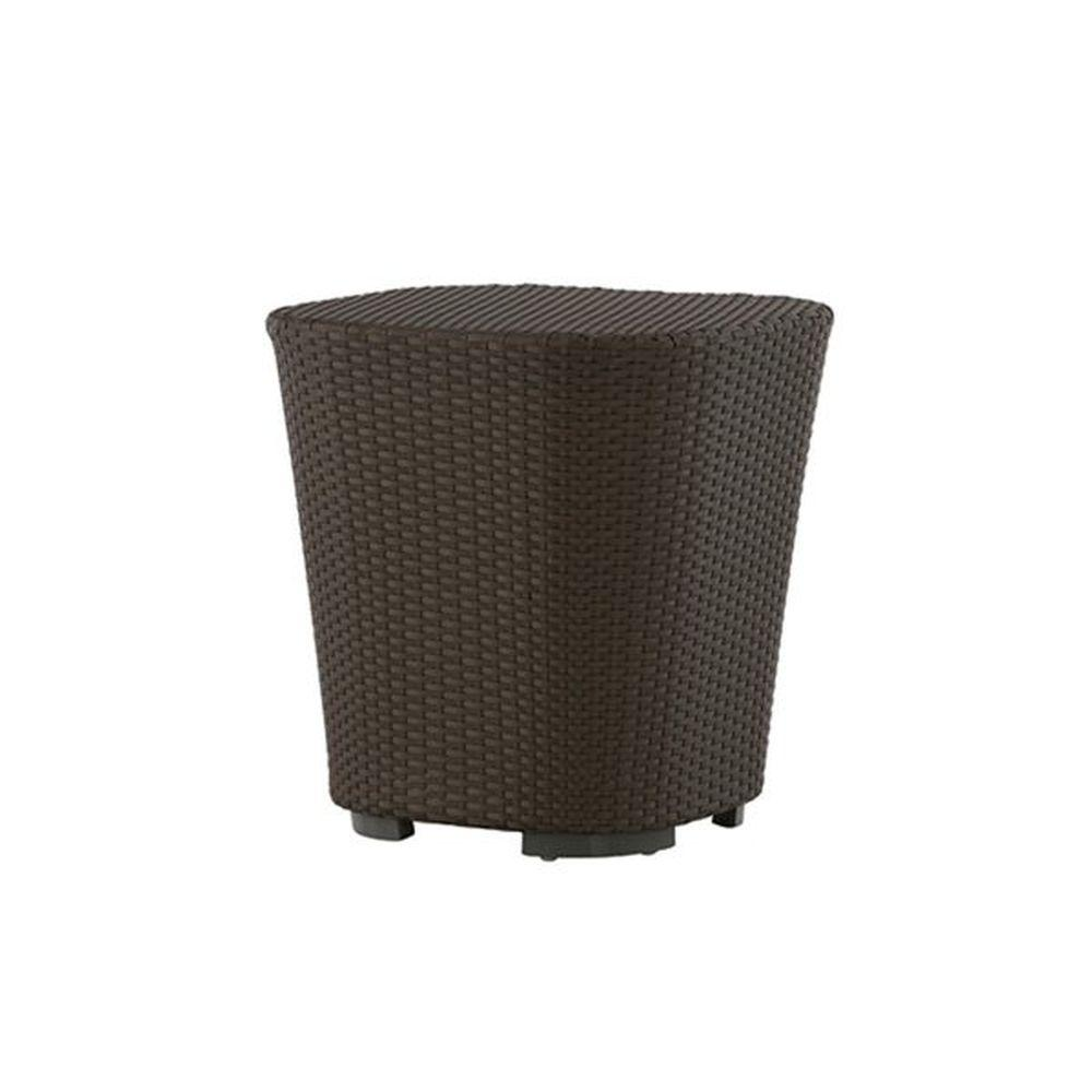 Rattan Garden Side Table | modern high end Italian wiven side table for sale | brown taupe