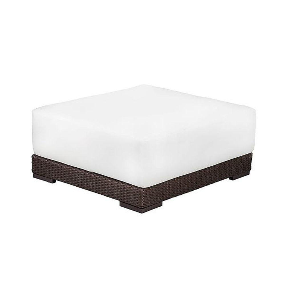 Minimal Rattan Cushioned Pouffe | luxury cushioned rattan garden foot stool| brown taupe