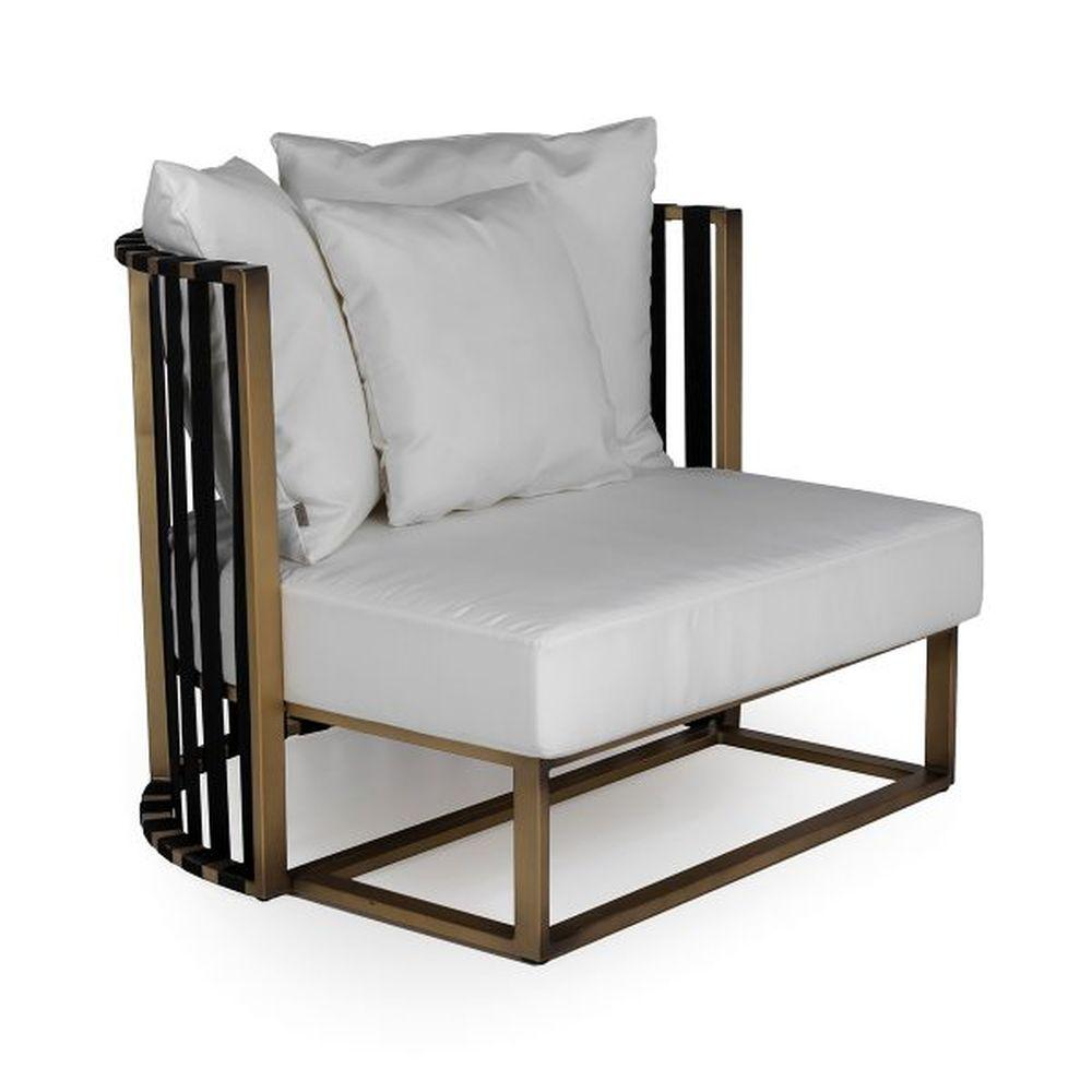 Modern Outdoor Aluminium Rounded Armchair | high end cushioned armchair | gold black white taupe