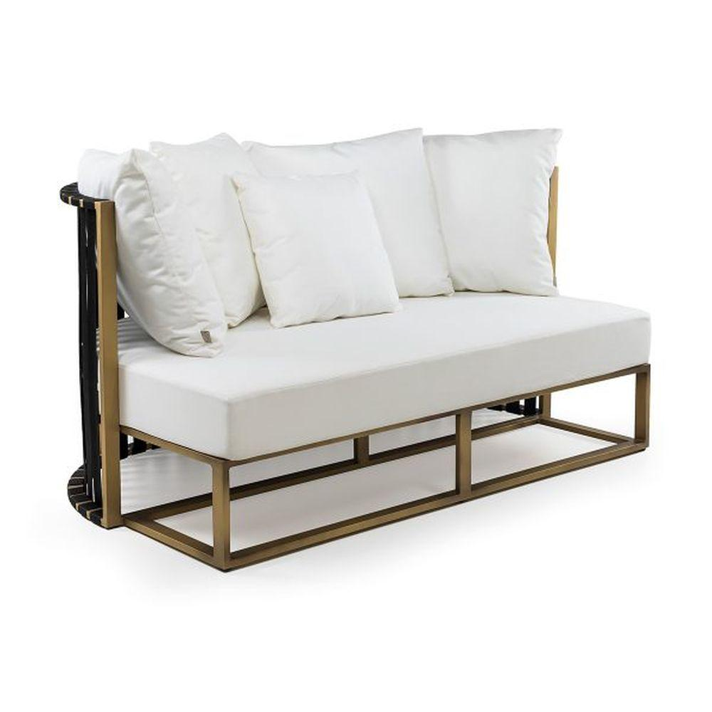 Aluminium Semi-Circular Two Seater Sofa | sleek outdoor rounded cushioned seating | gold black white taupe
