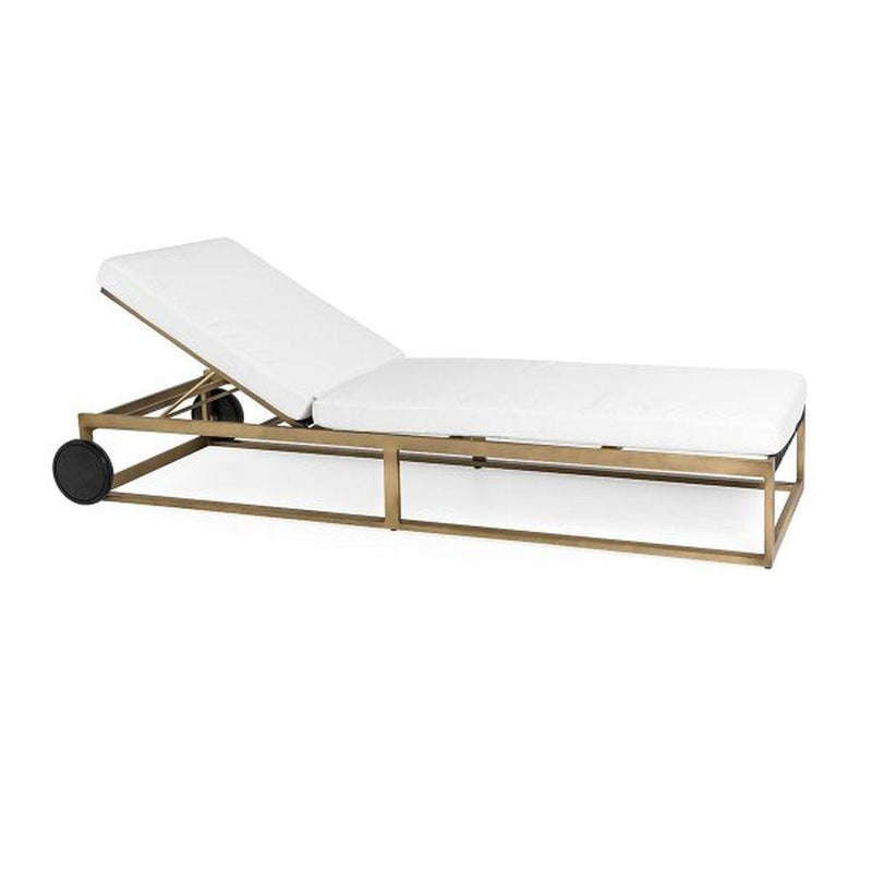 Simple Sleek Outdoor Sun Lounger | modern aluminium linear sunbed for sale | gold black white taupe