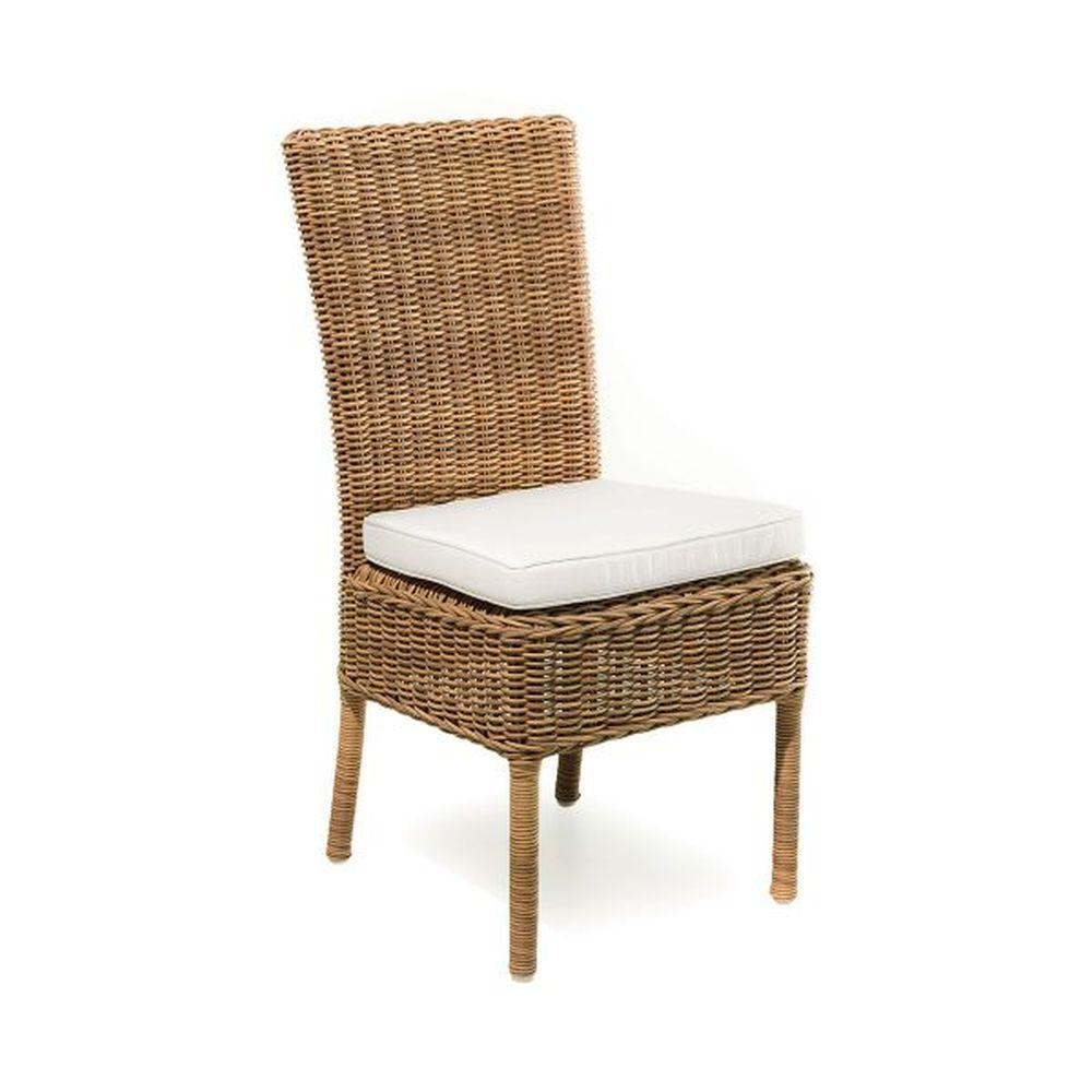 Classic Exterior Rattan Dining Chair | simple natural wood garden seating for sale | white beige