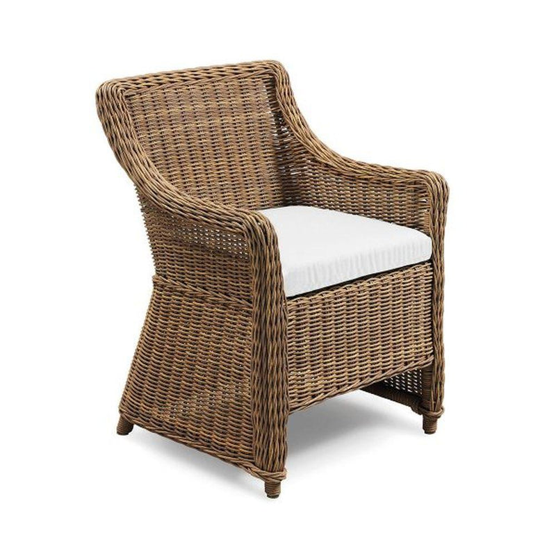 Stylish Natural Rattan Dining Armchair | high end garden woven seating | white beige