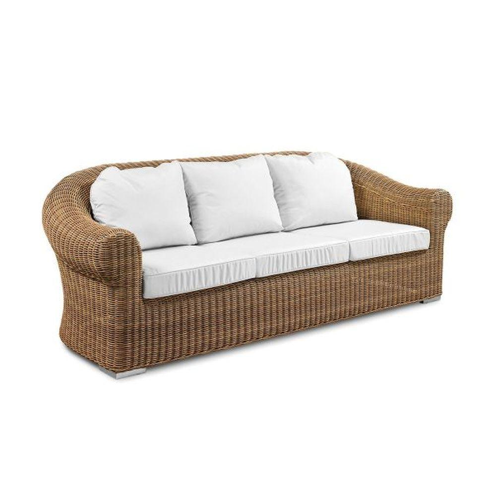 Luxury Modern Rattan 3 Seated Sofa | stylish high end woven garden seating | white beige