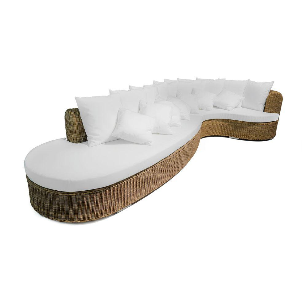 Circular Rattan Sectional Garden Sofa | luxury high end exterior woven sectional sofa | white beige
