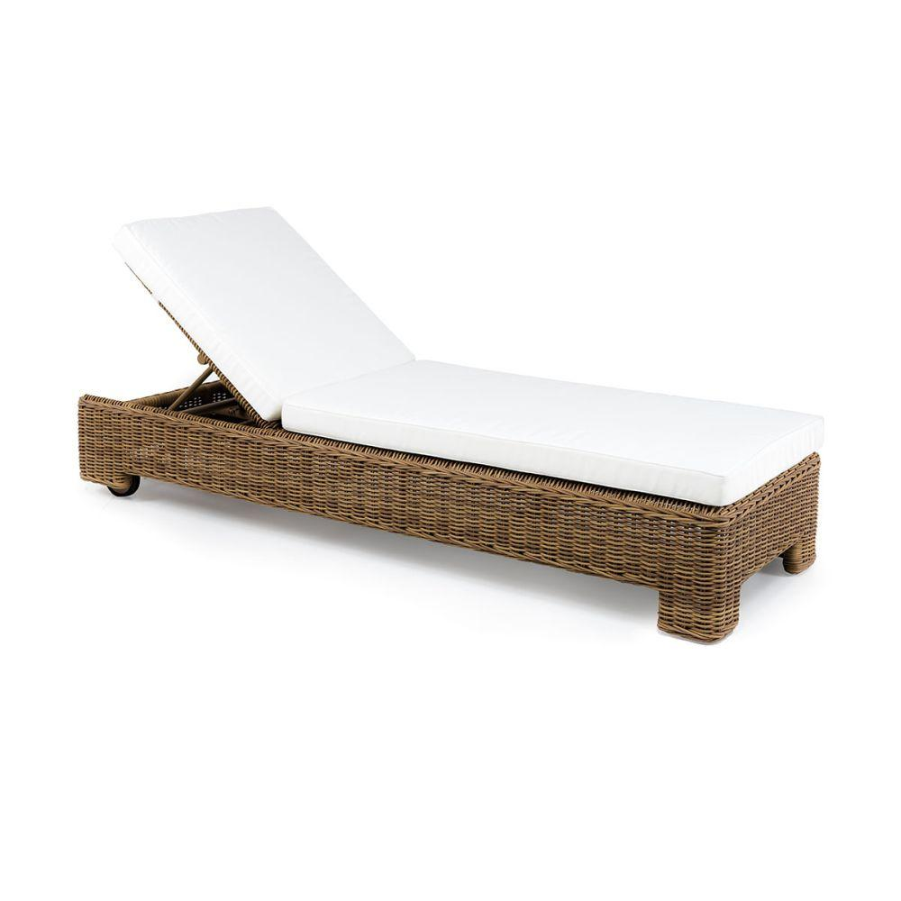 Stylish Woven Exterior Sun Lounger | modern sunbed in natural rattan style for sale | white beige