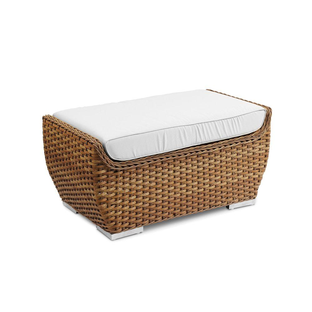 Stylish Rattan Outdoor Footstool | sleek outdoor pouff in natual woven colour | white beige