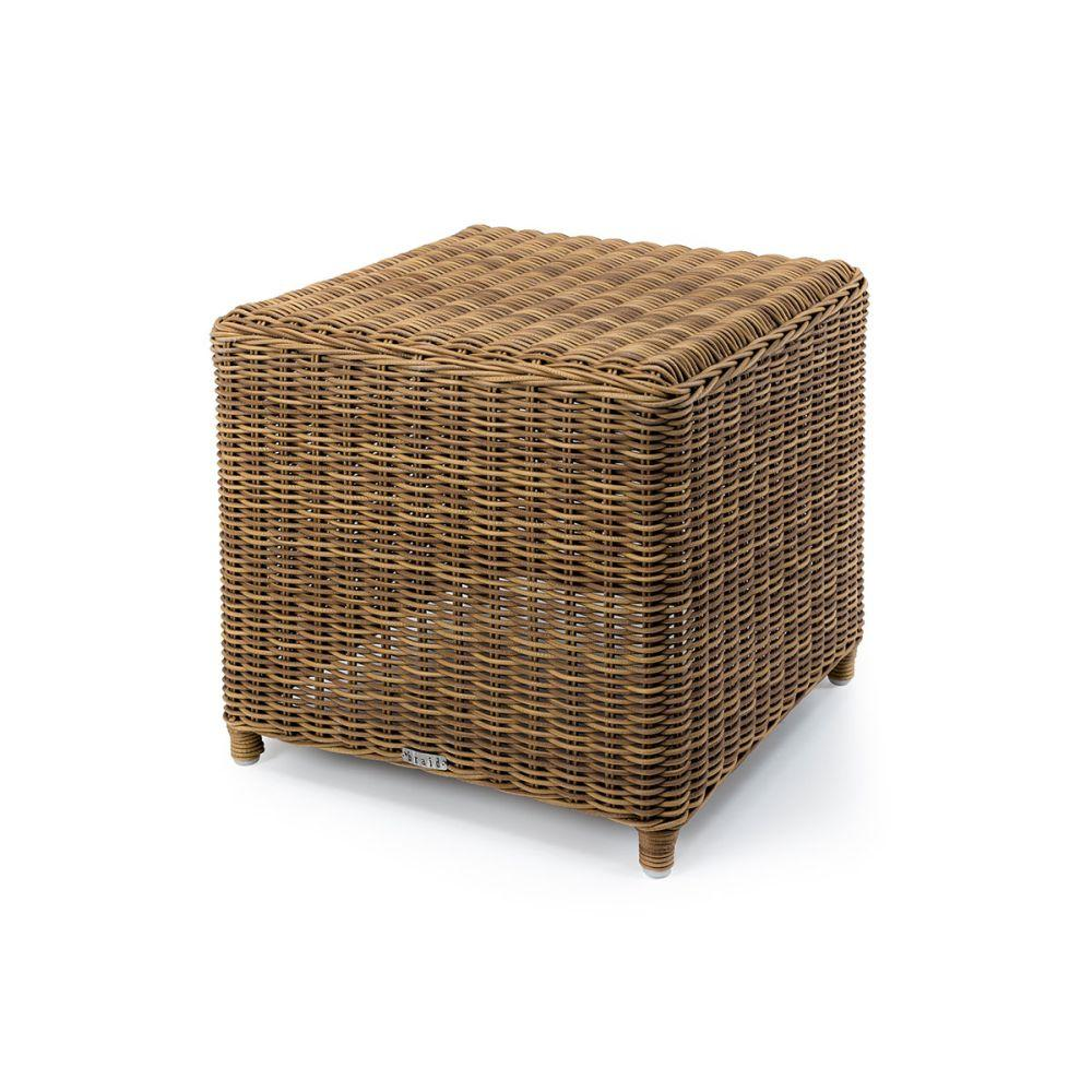 Classic Simple Rattan Outdoor Side Table | chic woven outdoor small side table for sale | white beige
