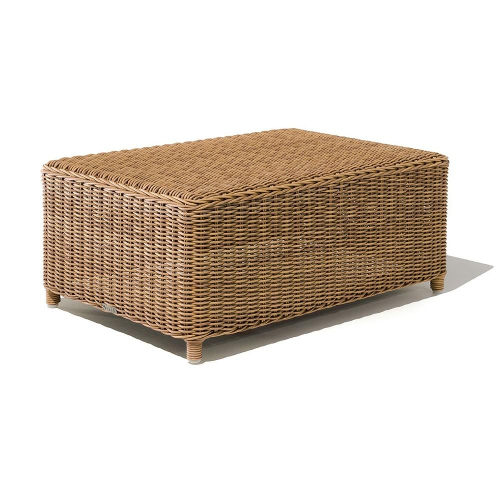 Rectangular Outdoor Woven Coffee Table | portable garden wooden rectangle low level table | rattan exterior furniture