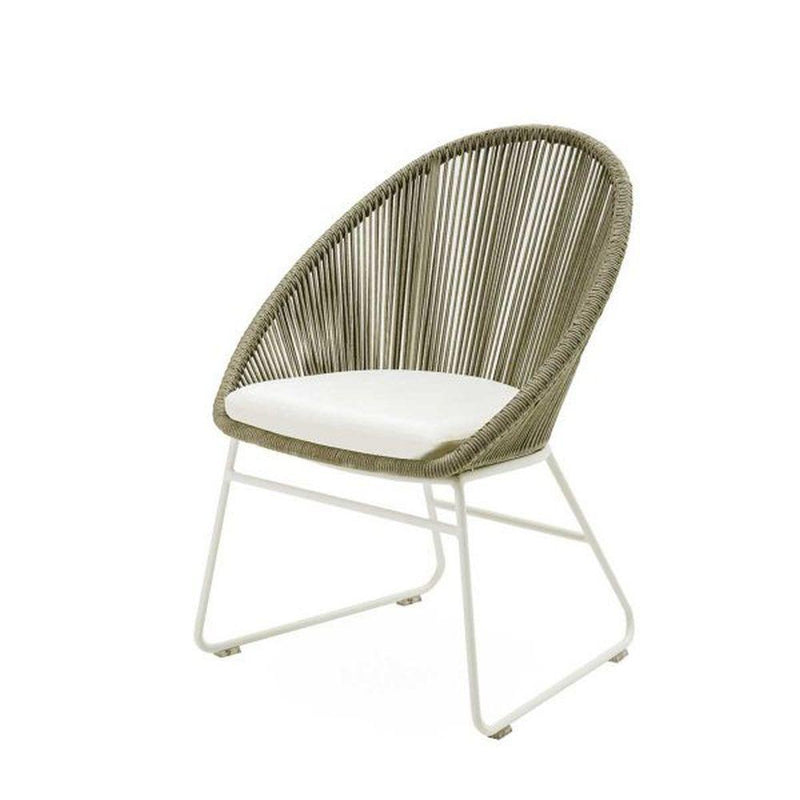 Simple Rounded Rope Dining Armchair | modern luxury Italian exterior woven rope dinner seating | white beige taupe