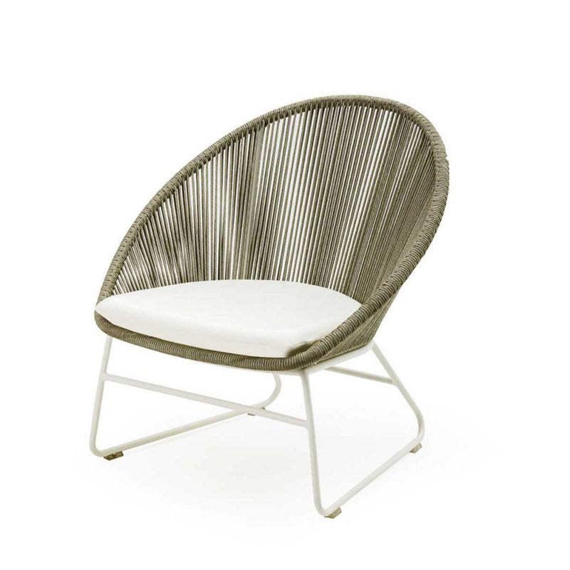 Chic Rope Garden Lounge Chair | stylish high end Italian outdoor woven rope seating | white beige taupe