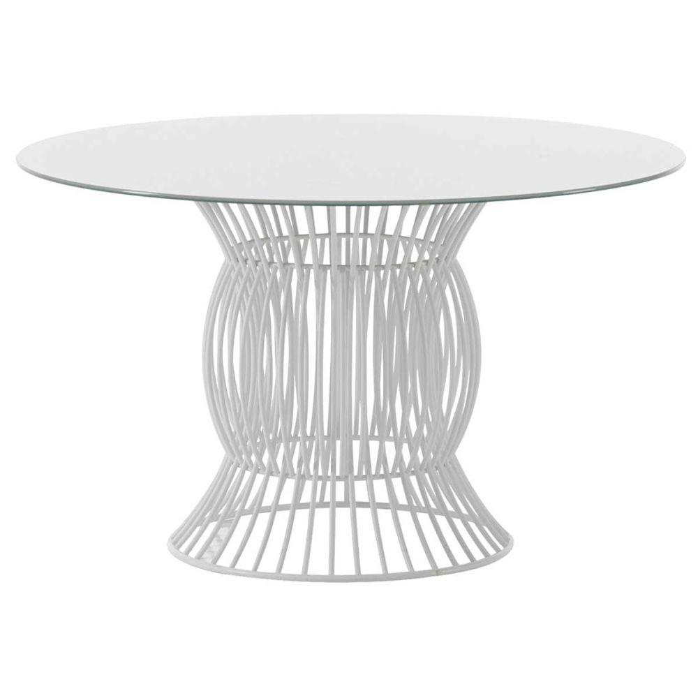 Circular Aluminium Garden Dining Table | high end Italian aluminium outdoor table | white beige