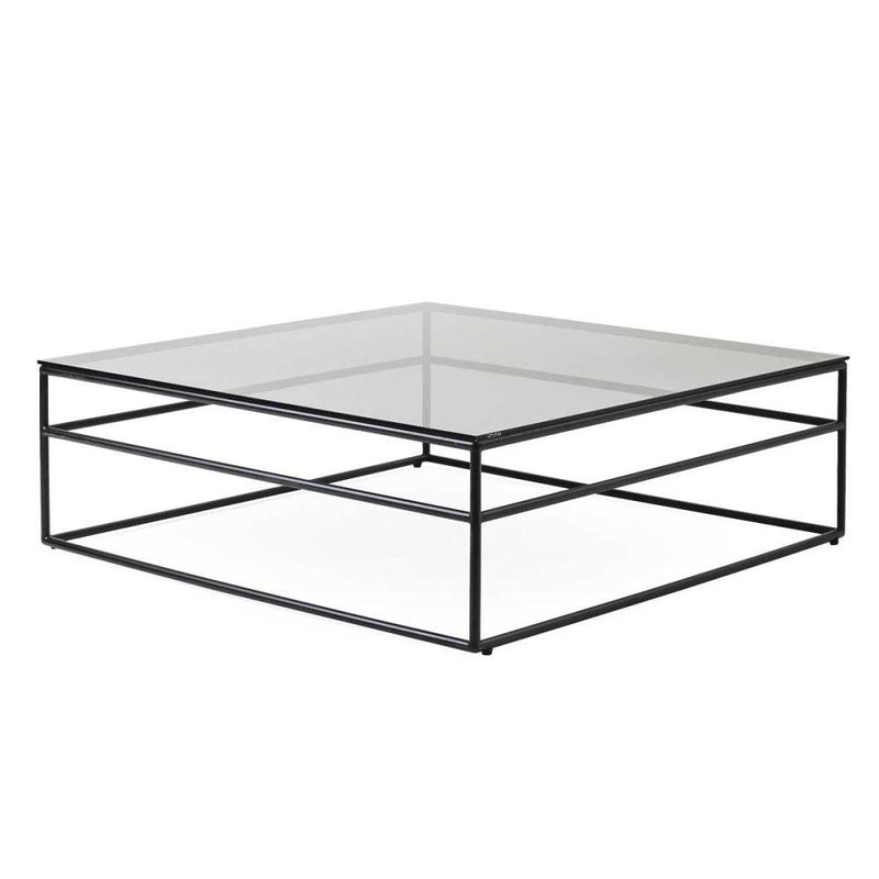 Low Level Aluminium and Glass Coffee Table | luxury Italian low rise square drinks table | white black taupe