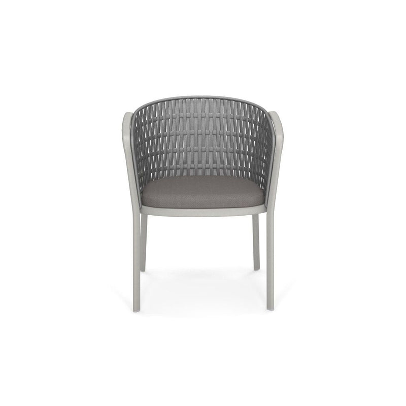 Minimal Flat Rope Garden Armchair | exterior high end garden armchair | white brown blue | aluminium | rope