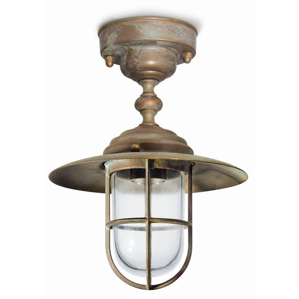 Urban Metal Shaded Outdoor Ceiling Light | Italian high end modern rustic ceiling light UK | e27 led | brass brown