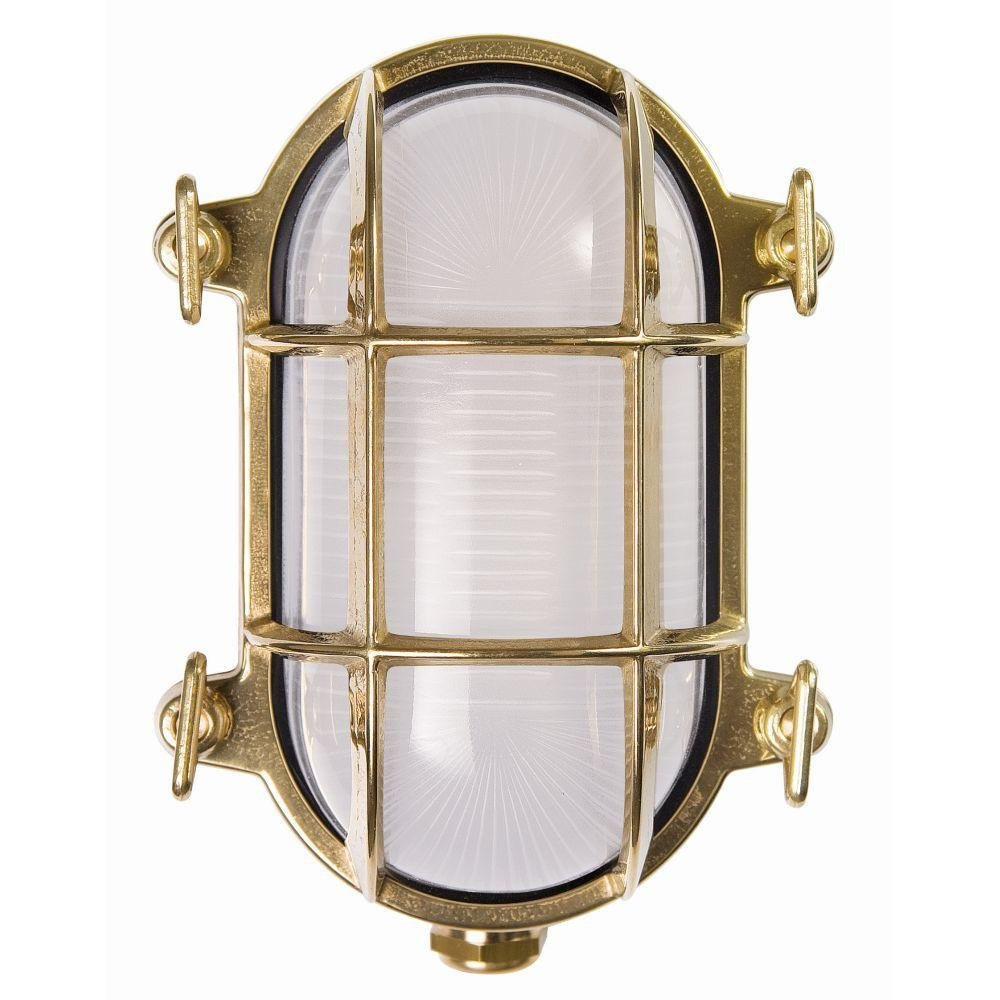 Contemporary Outdoor Metal Caged Wall Light | exterior high end wall sconce with brass finish | e27