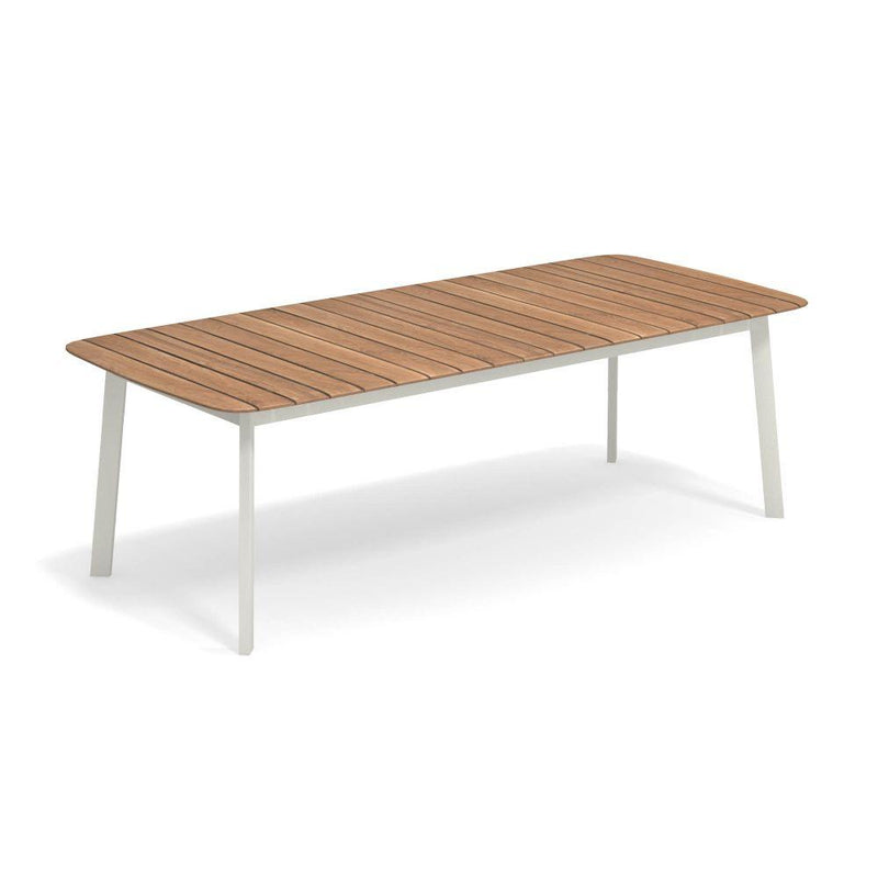 Rectangular Teak Outdoor Dining Table | luxury Italian wood garden dinner table | white black taupe brown