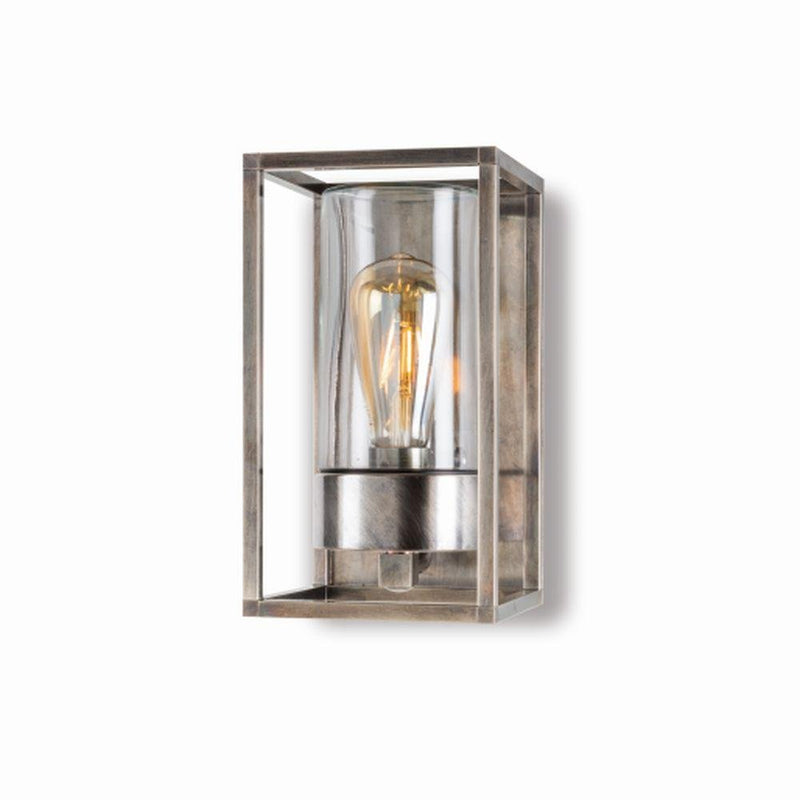 Rustic Wall Sconce With Metal Back | retro metal garden wall light | high end Italian lighting UK | brass nickel black white
