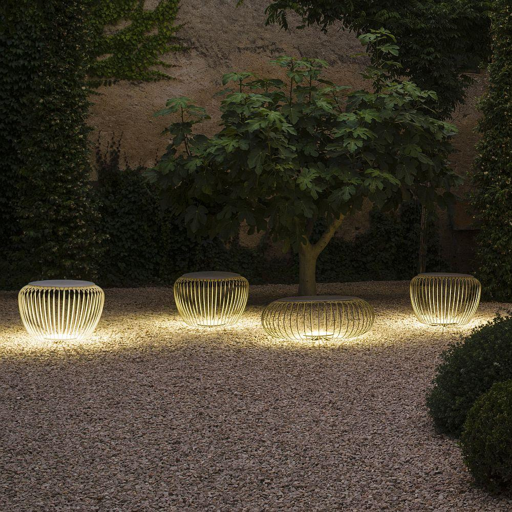 Metal Circular Caged Floor Light | Outdoor Multi functional Light Up Side Table Made in Spain