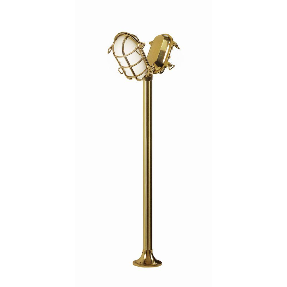 Modern Exterior Double Headed Floor Lamp | exterior luxury floor lamps with brass finish | e27