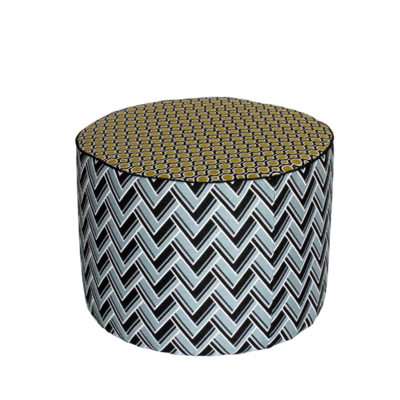 Exterior Vibrant Patterned Poof | Italian Waterproof Outdoor Seating H60cm D45cm