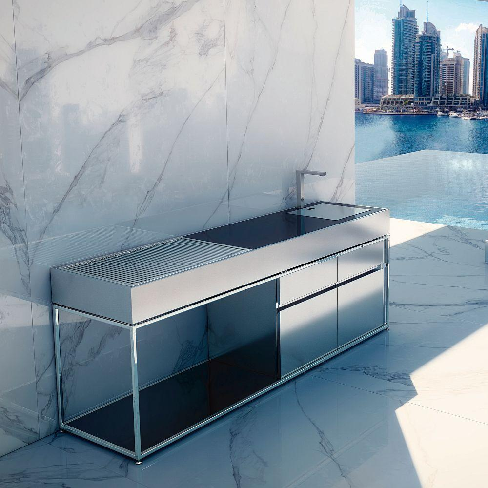 Bespoke Black Granite Outdoor Kitchen Island | High End Coal BBQ Island | Stainless Steel | Granite