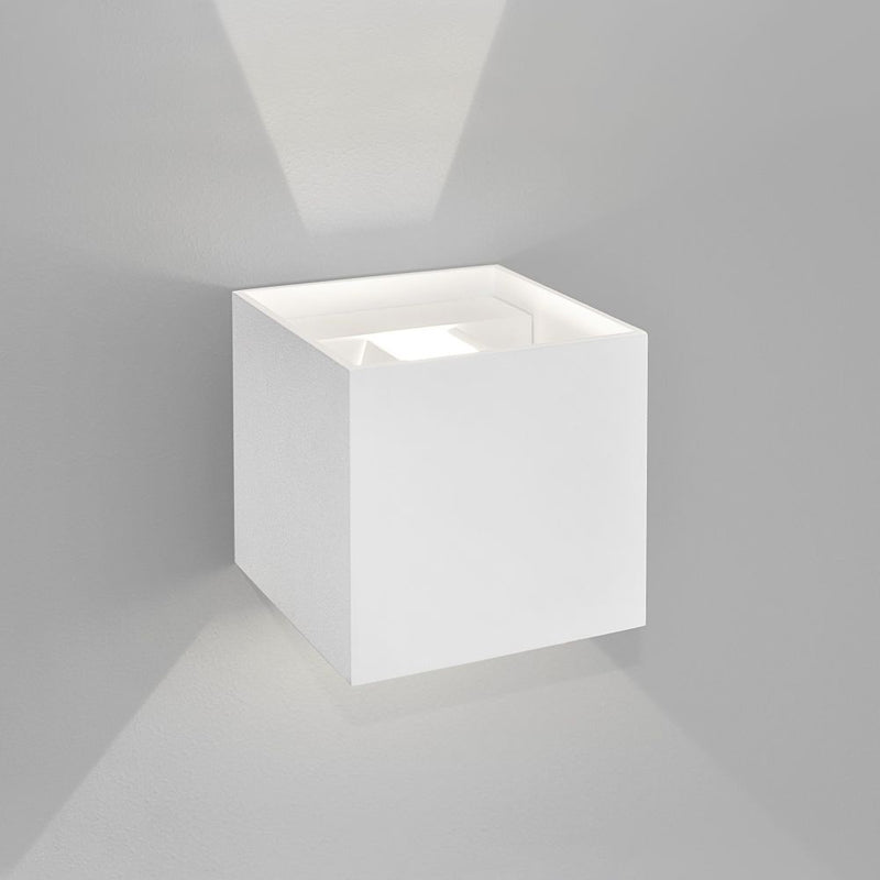 Small Box Exterior Wall Light | modern outdoor wall lighting | white grey brown | led