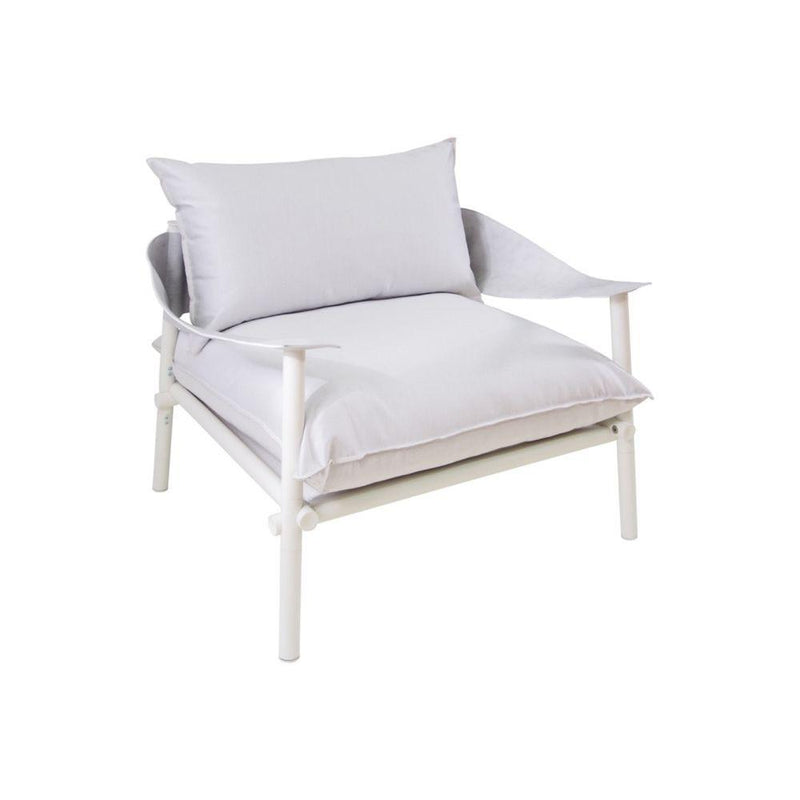 Simplistic Aluminium Outdoor Lounge Chair | luxury comfy garden wide armchair | white black grey beige