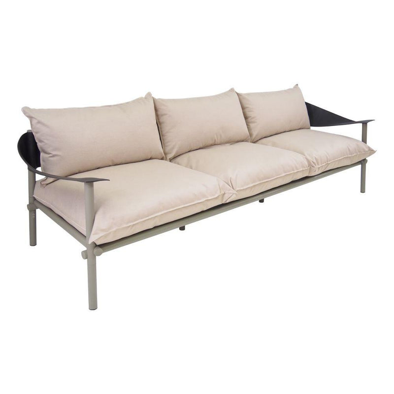 Cushioned Modern Aluminium Garden Sofa | high end metal patio cushioned sofa | white black grey beige