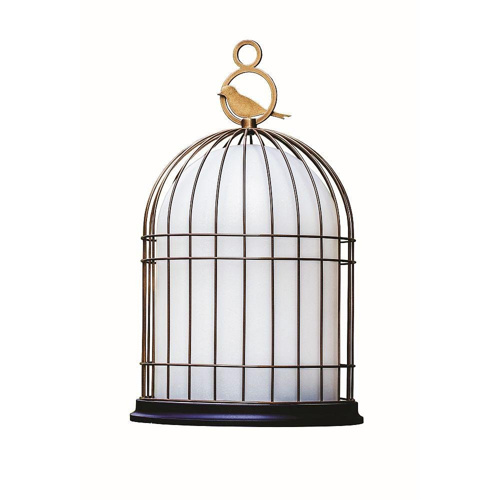Wireless Bronze Bird Cage Table Lamp | Outdoor Battery Powered Lantern Fibreglass