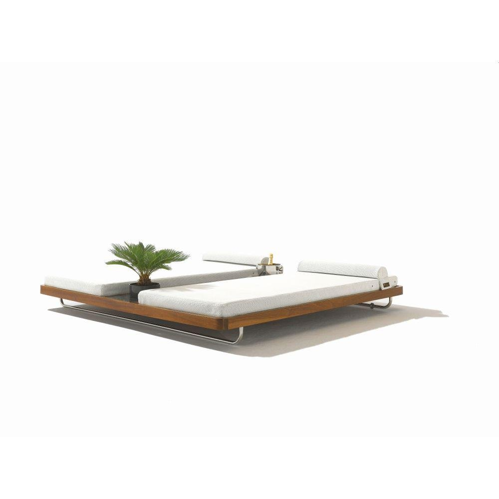 Grand Modern Double Garden Sunbed | luxury double teak sunbed | mahogany teak | high end pool side sun lounger