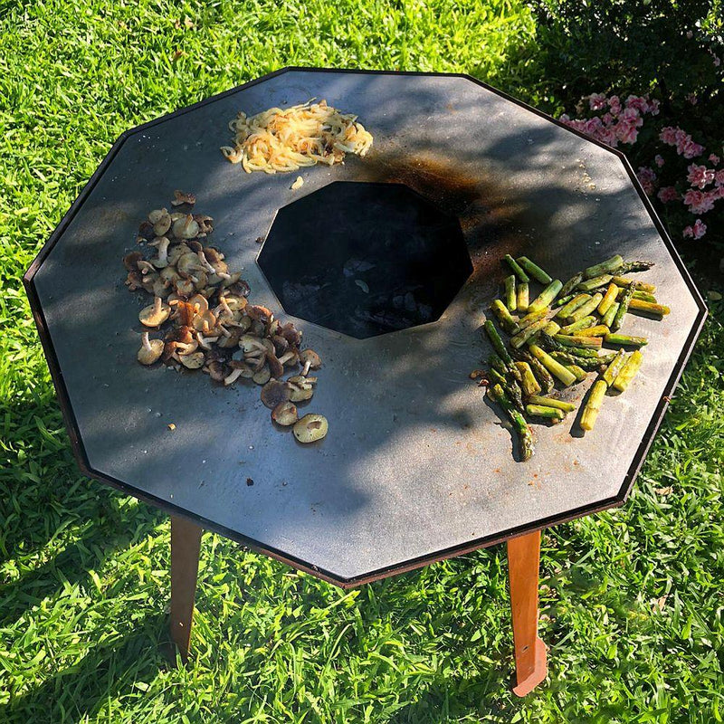 Luxury Round Outdoor Grill | Fire pit Grill | Made in Portugal | Corten Steel Exterior Grill