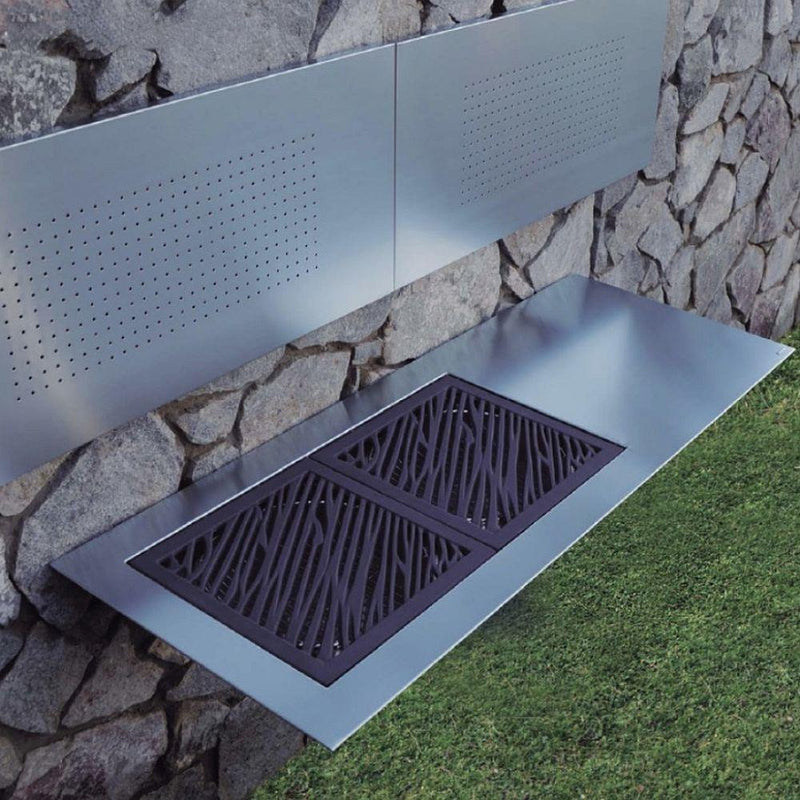 Sleek Stainless Steel Floating Coal Barbecue | Wall Mounted Coal BBQ