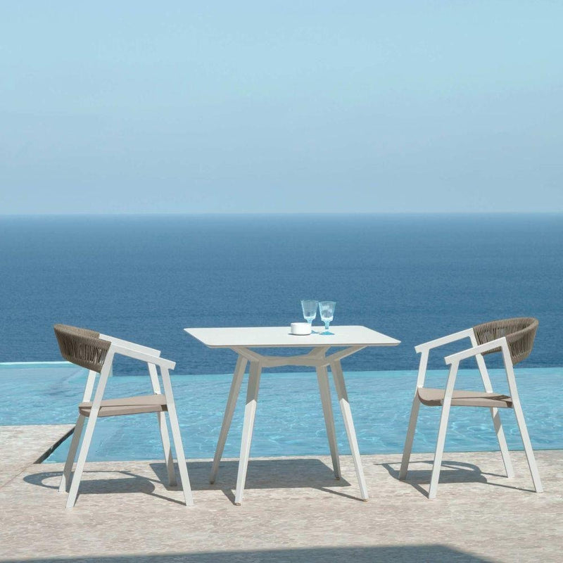 Minimal Square Top Garden Table | High End Exterior Dinner Table | Aluminium Garden Furniture UK | White Grey