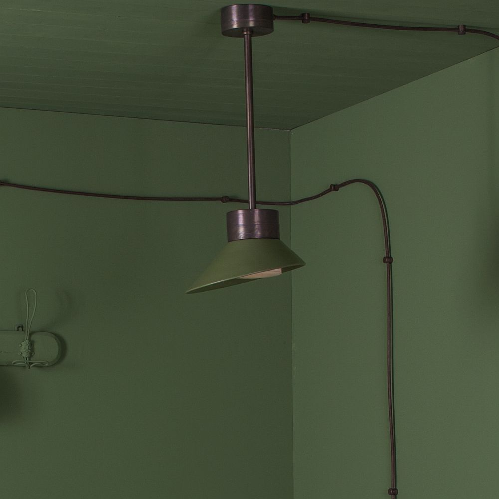 Urban Shaded Outdoor Ceiling Pendant | modern shaded pendant | urban exterior copper pendants | aluminium copper | grey green