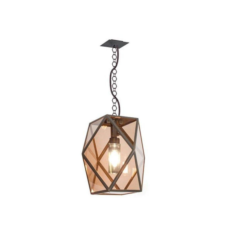 Modern Metal Bronze Garden Pendant | medium large exterior pendant | high end Italian garden lighting