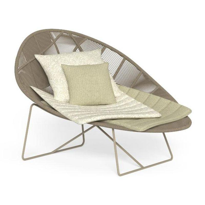 Contemporary Woven Rope Lounge Chair | Luxury Colourful Outdoor Daybed | Modern Garden Seating | Beige Grey Green Red Yellow