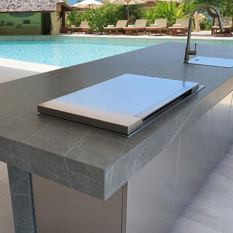 Customisable Stainless Steel Outdoor Kitchen Island | Luxury Exterior Marble Kitchen and Dining Area | Made in Spain