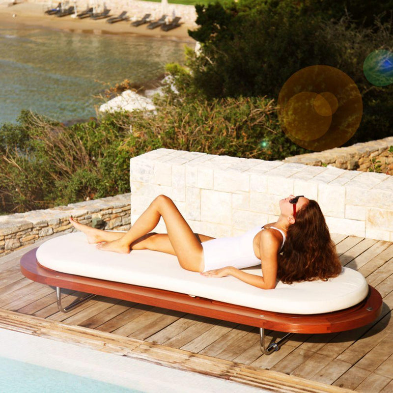Exterior Luxury Mahogany Sunbed | Luxury Sunbed | Modern Outdoor Sunbed | Luxury Quality | High End Pool Side Sunbed