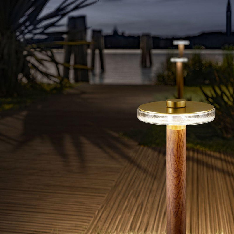 Modern Outdoor Glass And Metal Floor Light | contemporary garden floor lamp | small medium large | LED | grey brass wood corton