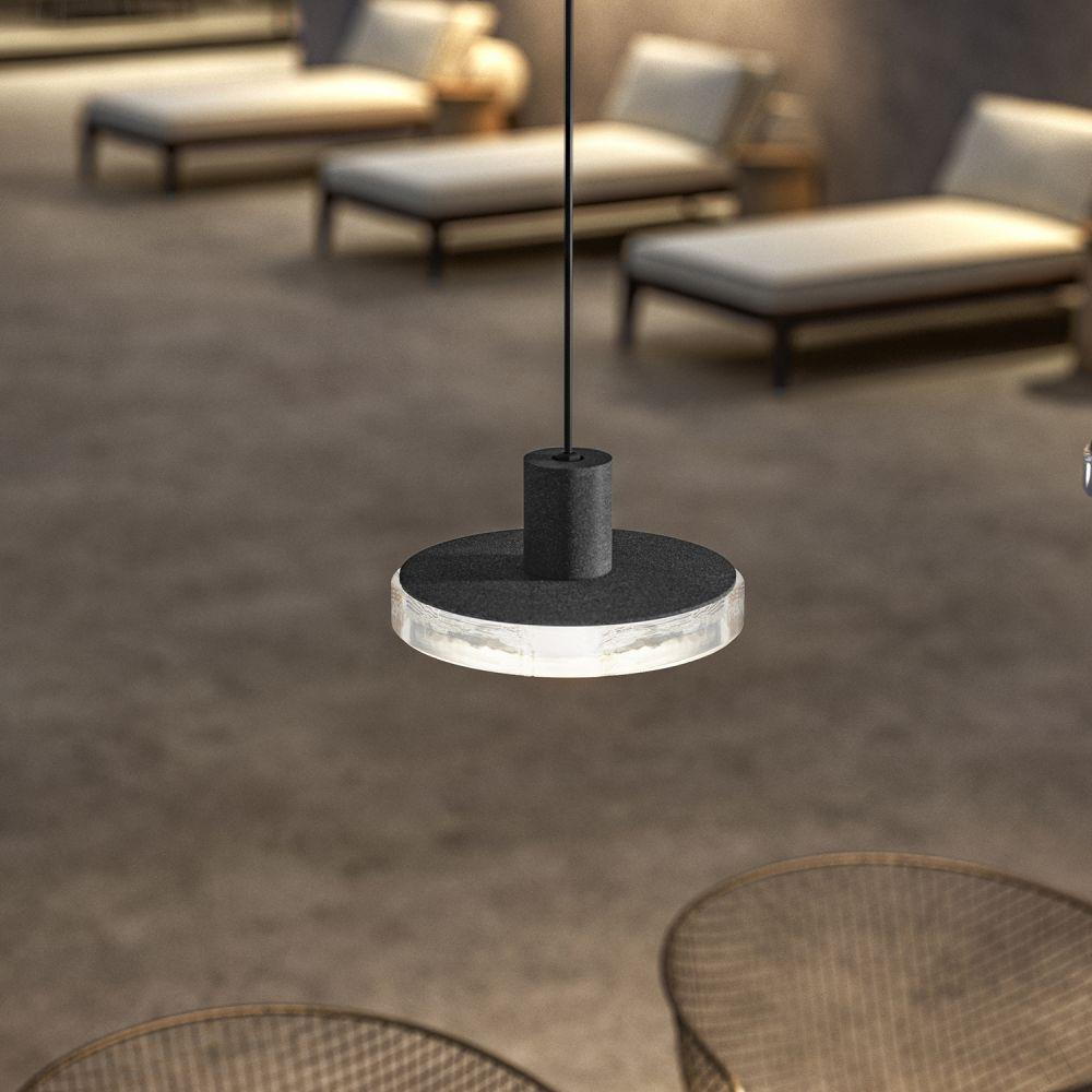 Sleek Exterior Glass And Metal Pendant | high end Italian minimal garden ceiling pendant | LED | grey brass wood corton