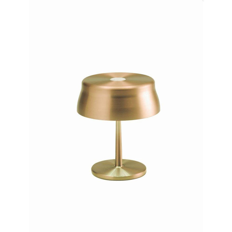 Mini Battery Operated Sleek Table Lamp | luxury exterior small cordless battery operated table light | gold copper green