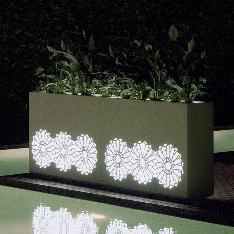 Luxury Illuminated Large Garden Planter | high end outdoor light up planter | lighting plant pots for sale | steel corton