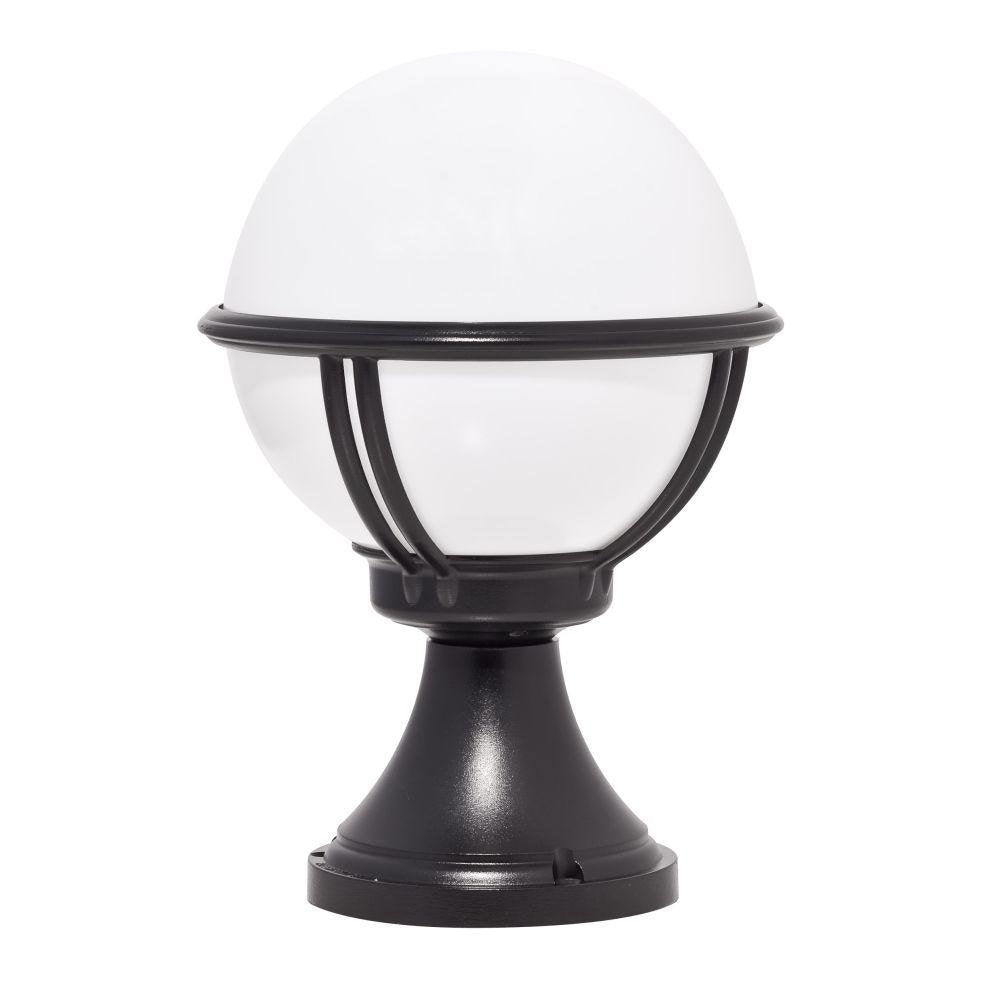 Minimal Garden Globe Bollard | high end French exterior metal floor light | E27 | black white